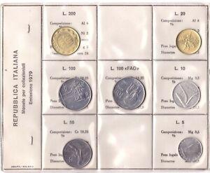 1979 Italia Set Annuale Ridotto 7 Monete Fdc Bu