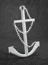 White Anchor Wall Yard Art Decor 3' Metal Nautical Navy Outdoor Decorative New