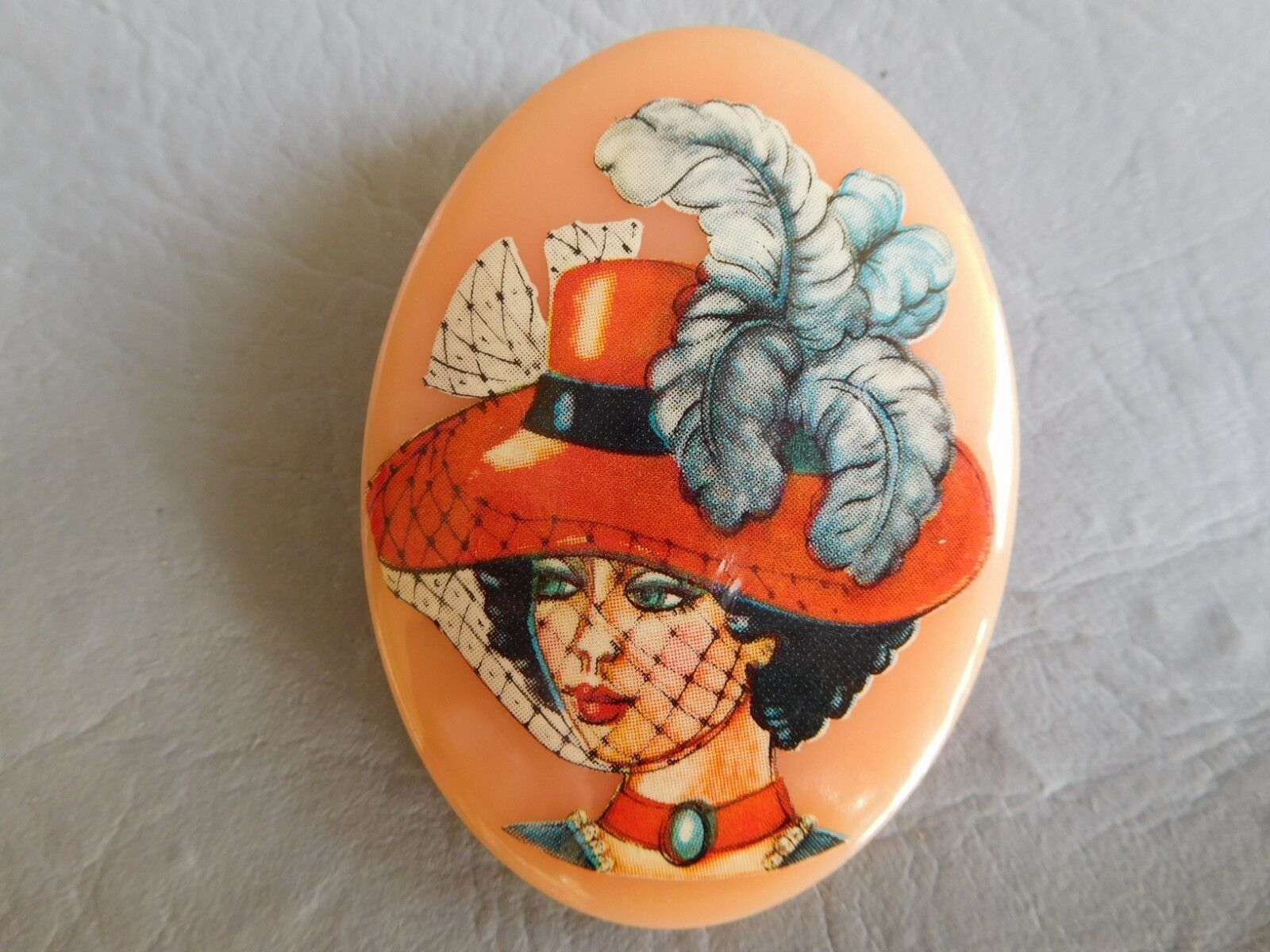 WESTERN GERMANY BROCHE ANCIENNE RHODOÏD arancia FEMME PORTRAIT PORTRAIT PORTRAIT VINTAGE BROOCH 631c82