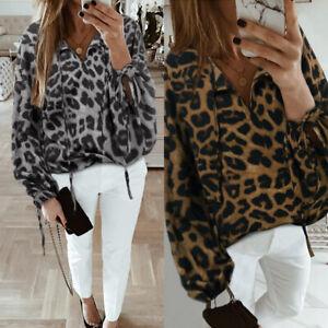 Sexy-Femme-Loisir-Manche-Longue-a-lanterne-Leopard-Col-Rond-Haut-Shirt-Tops-Plus