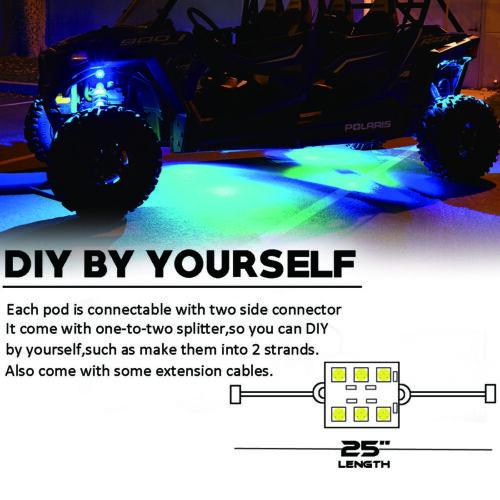 18 Color LED NEON UNDERBODY UNDERGLOW LIGHT LIGHTING CAR KIT Music Active x8 pod
