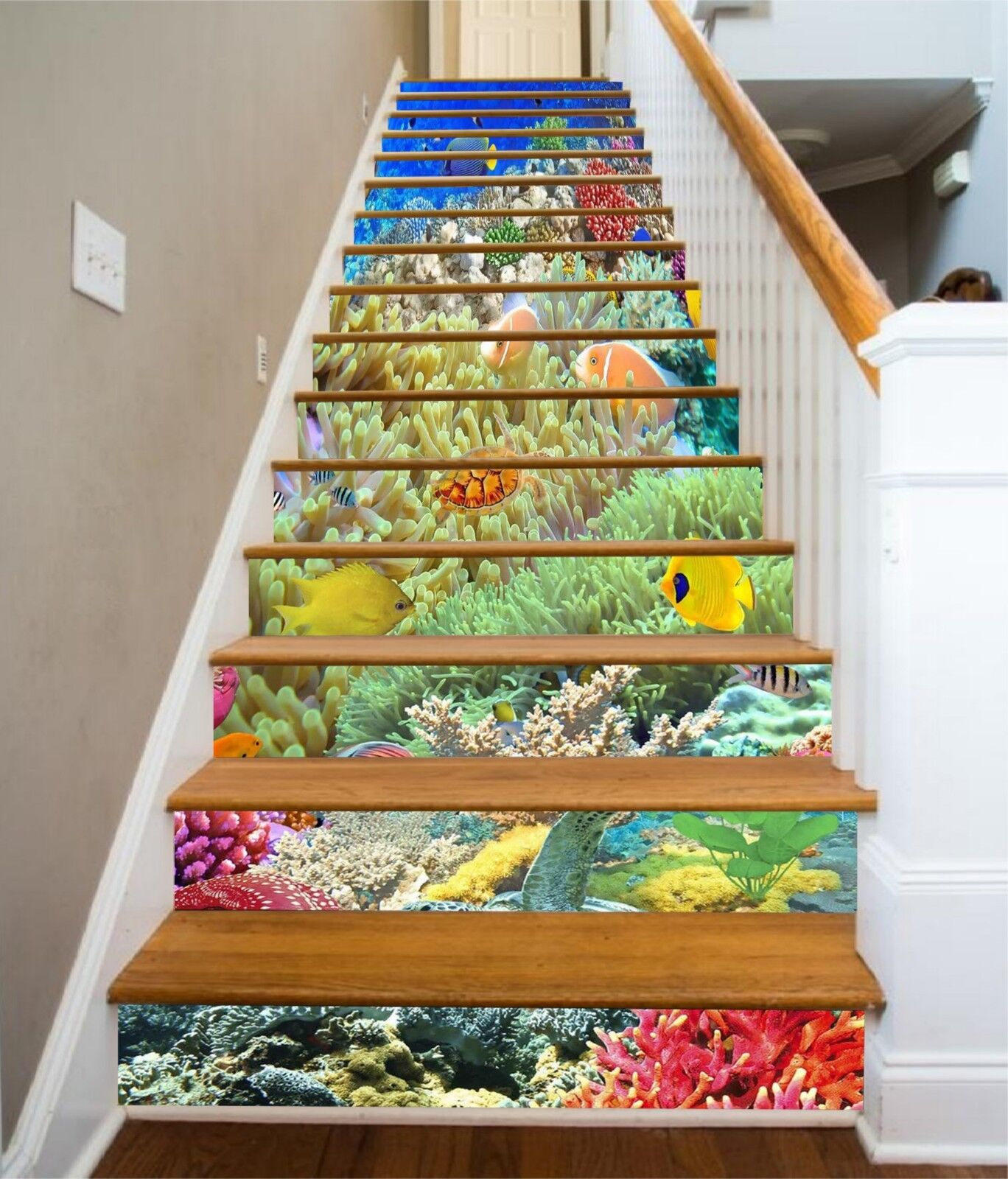 3D Coral color Sea Stair Risers Decoration Photo Mural Vinyl Decal Wallpaper US