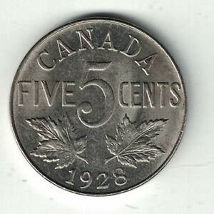 CANADA-1928-FIVE-CENTS-KING-GEORGE-V-NICKEL-CANADIAN-COIN
