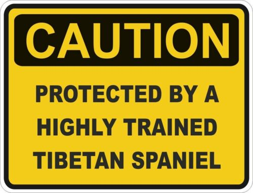 1x CAUTION PROTECTED BY TIBETAN SPANIEL WARNING FUNNY STICKER DOG PET DECAL
