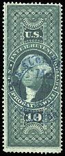 01387 U.S. Revenue Scott R96c $10 Probate of Will, blue 1870 handstamp cancel