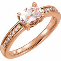 Genuine Morganite Gemstone & 1/10  ctw Diamonds Ring 14K. Solid Rose Gold size 7