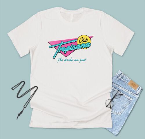 Club Tropicana T-shirt Tee Drôle années 80 Fancy Dress Party Rétro Musique George fluo
