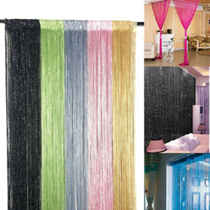 Silver wire curtain Divider Tassel Fringe Panel Crystal Room  WindowCurtain
