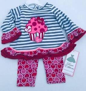 Rare-Editions-Valentine-039-s-Red-Gray-Stripe-Cupcake-Leggings-3-6M-6-9M-12M-18M-24M