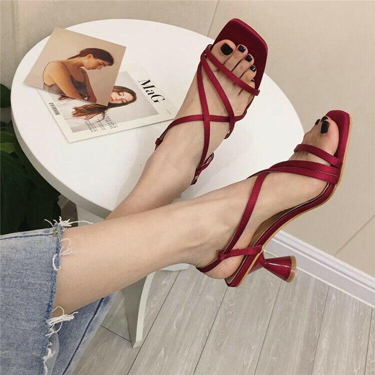 Ciabatte eleganti sandali tacco rocchetto rojo 5 cm pelle sintetica 1107