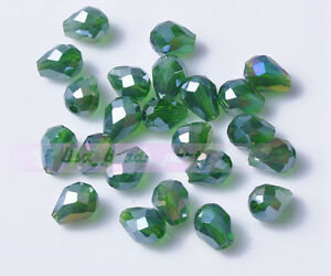 50pcs-7X5mm-Free-Shipping-Crystal-Glass-Beads-Facted-Loose-Beads-Dp-Green-AB
