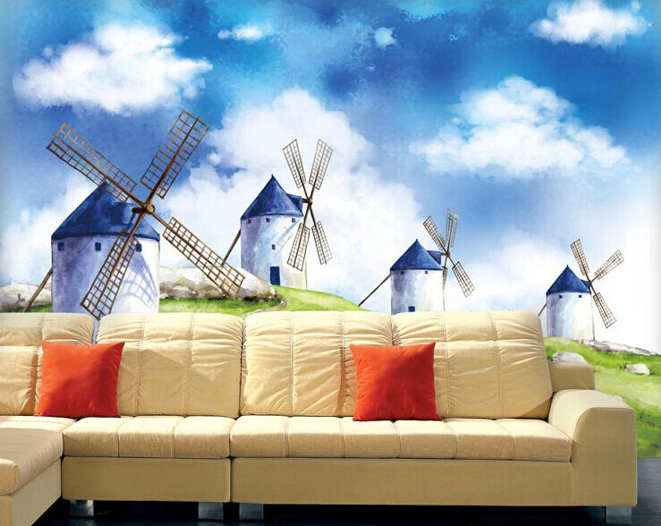 3D Windmill clouds 29 WallPaper Murals Wall Print Decal Wall Deco AJ WALLPAPER