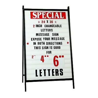 """Tall A Frame Sidewalk Sign Sandwich Board with Protective Covers /& 4/"""" Letters!"""