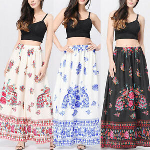 b9fdf511a9 Women Boho Maxi Skirt Dress Floral Holiday Summer High Waist Long ...