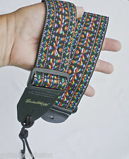 GUITAR STRAP MULTI WOVEN COLORED NYLON SOLID LEATHER ENDS QUALITY MADE IN USA