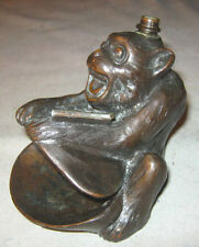 ANTIQUE RONSON MONKEY APE CIGARETTE CIGAR TABLE LIGHTER ASHTRAY TRAY # 8864 TOOL