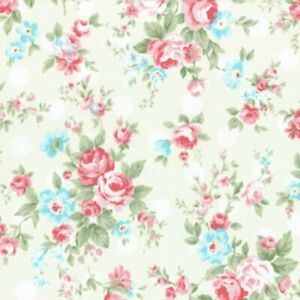 Cottage-Shabby-Chic-Lecien-Princess-Rose-31265L-10-Cream-w-White-Polka-Dots-BTY