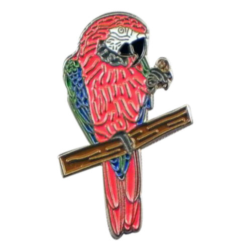 Scarlet MacCaw Pájaro Metal Esmalte Loro Insignia PIN DE SOLAPA CORBATA PIN