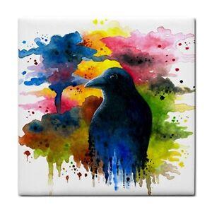 Large-Ceramic-Tile-6x6-Made-USA-Bird-71-Crow-Raven-art-painting-LDumas
