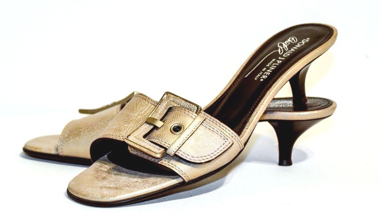 Donald J. Pliner KINZY Gold Metallic Leder Slide Sandale 7.5 Narrow (AA, N)