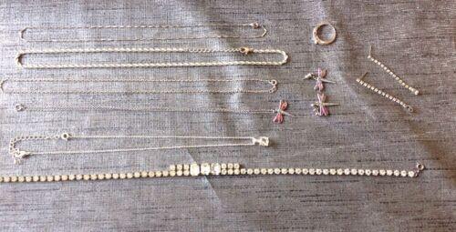 Colección de Vintage Bisutería Cadena Collar Colgante de Mariposa Anillo