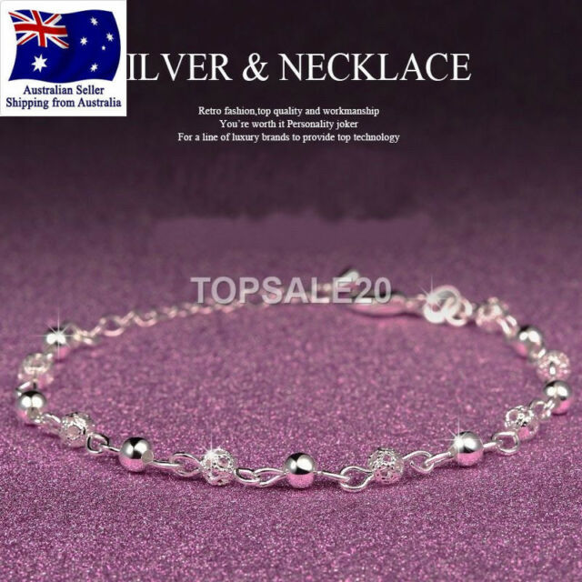 925 Sterling Silver Plated Bead Ankle Chain Bracelet Anklet Foot Jewelry Sandal