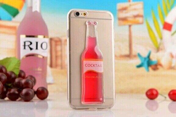 FUNDA de GEL TPU FINA ULTRA-THIN TRANSPARENTE para iPhone 6 / 6s cóctel 3D case