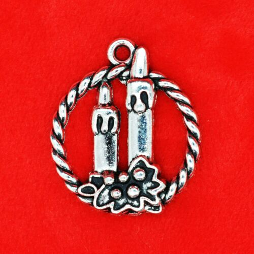 2 x Tibetan Silver Candles in a Christmas Wreath Charm Pendant Beading Making