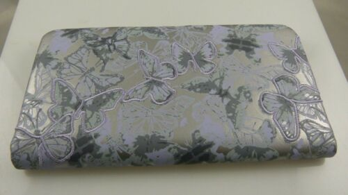 spring butterfly/'s silver grey with lavender butterfly id credit card wallet
