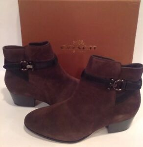 bbcefd80c15 Coach Size 9.5 M PAULINA Chestnut Black Suede Heel Ankle Boots New ...