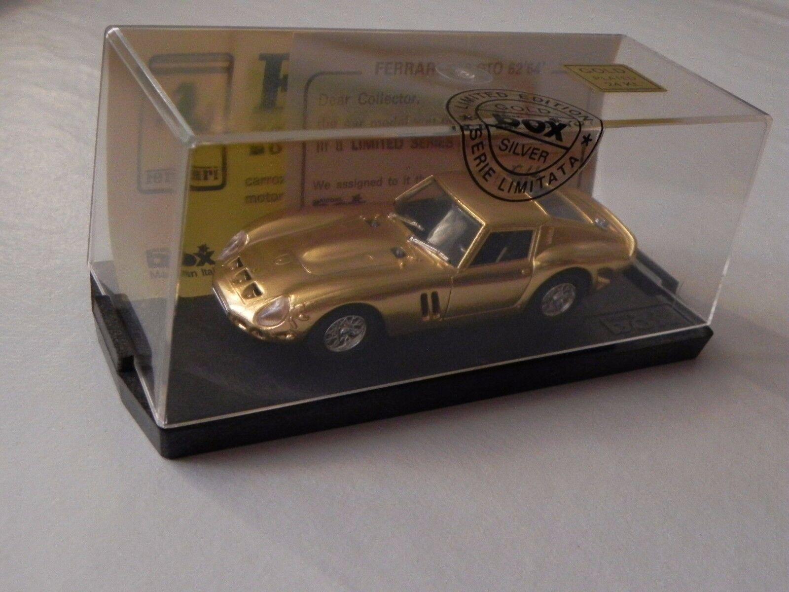 FERRARI 250 GTO 1962 MODEL BOX LIMITED EDITION oro PLATED 24Kt 1:43 MODELLINO