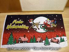 Fahnen Flagge Frohe Weihnachten Rentier Schlitten - 90 x 150 cm