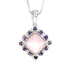 Rose-Quartz-Cushion-cut-amp-Tanzanite-Pendant-0-925-Sterling-Silver-Chain