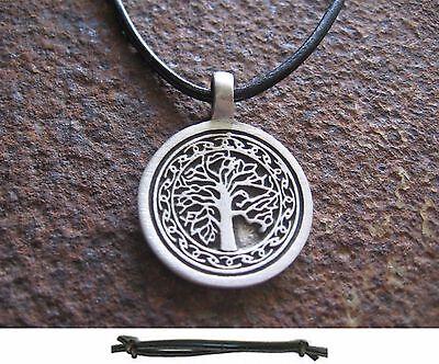 Gut Ausgebildete Lebensbaum Anhänger Leder Schwarz Tree Of Life Herren Necklace Kette Halskette Feine Verarbeitung