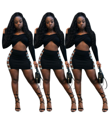 Women Long Sleeves Crop Tops Casual Club Party Bodycon Mini Dress Skirts Set 2pc