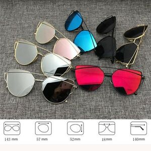 Womens-Flat-Lens-Mirror-Metal-Frame-Oversized-Cat-Eye-Sunglasses