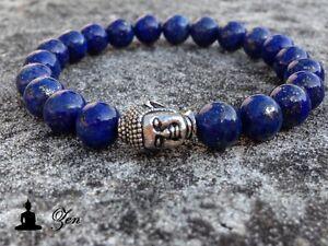 Bracelet-034-ZEN-034-Tete-de-BOUDDHA-amp-Lapis-Lazuli-8mm-Femme-buddha-argent