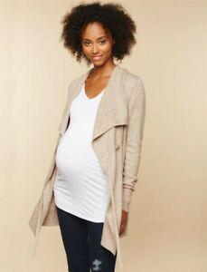 Motherhood-Maternity-Tie-Front-Drape-Cardigan-L-NWT-Large-Oatmeal-44-98