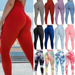Women High Waist Yoga Pants Pockets Leggings PUSH UP Scrunch Workout Trousers D1