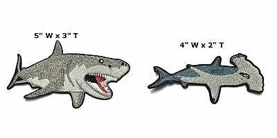 Tiger Shark Embroidered Patch Iron or Sew-on 2 PC