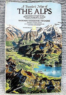 Vintage 1985 National Geographic Travelers Map of the Alps