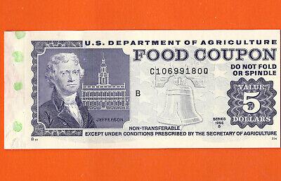 FOOD STAMP COUPON  USDA 1995 B  month code A $5.00 Coupon