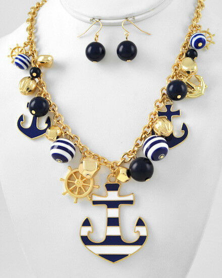 SAILOR BOUTIQUE - Gold Beads Chunky ANCHORS HELMS Necklace/Earrings 5070 Stripes