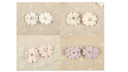 10 x Flower with Pearl /& Diamante Centre 3D motifs 50mm Sew On Stitching Fabric