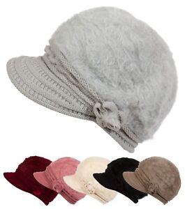 Women Warm Winter Faux Rabbit Fur Knit Visor Hat with Flower Cabbie ... 30a89be2988