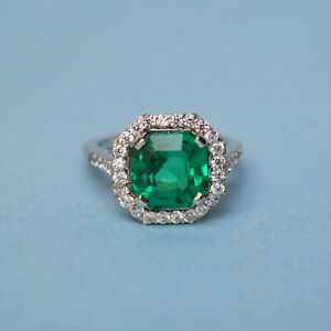 925-Sterling-Silver-Natural-Certified-5Ct-Emerald-Octagon-Shape-Ring-For-Weeding