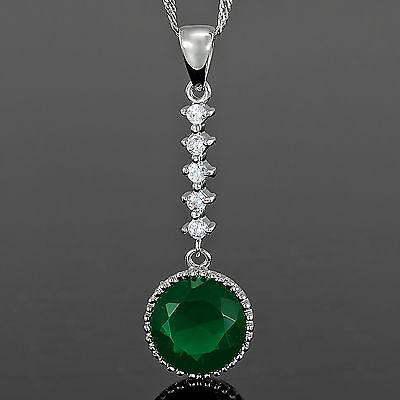 Xmas Lady Fashion Jewel Cross Cut Green Emerald Silver Tone Pendant Necklace Nr