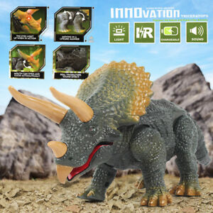 Walking Remote Control Dinosaur Triceratops Toy Model Light Sound Action Figure