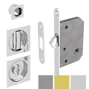 Sliding Door Square Hook Lock for Bathroom Doors -Chrome, Satin ...