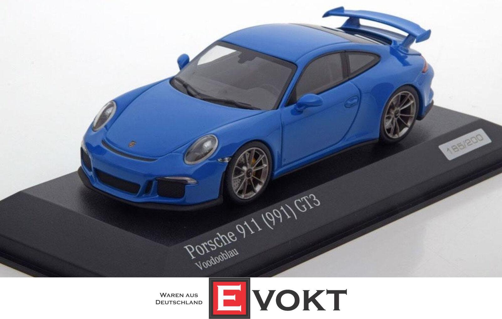 Porsche 911 (991) GT3-VOODOO bleu - 1 de 200-MINICHAMPS-Voiture. Tima Exclusive